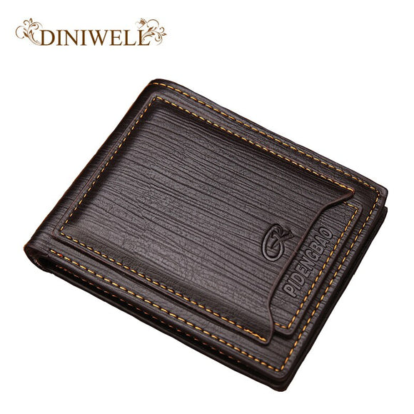 DINIWELL 2018 promotion! PU leather men's new wallet fashion card multi-card short wallet dollar euro money bag change purse