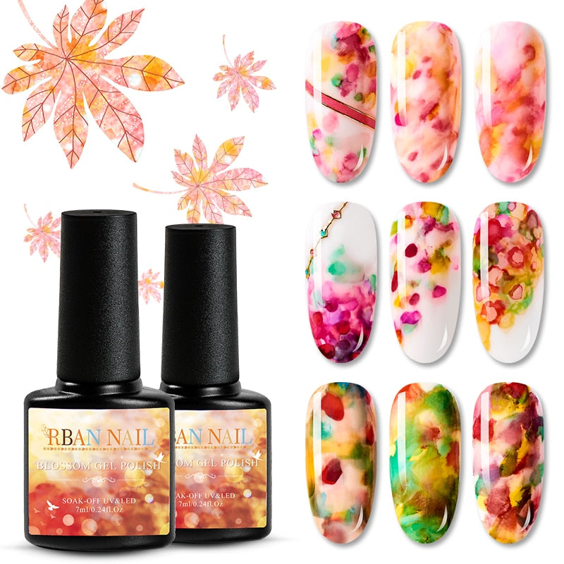RBAN NAIL Watercolor Ink Nail Polish Bloom Gel Smoke Effect Smudge Bubble DIY Varnish Manicure Decor Nail Art Salon Set