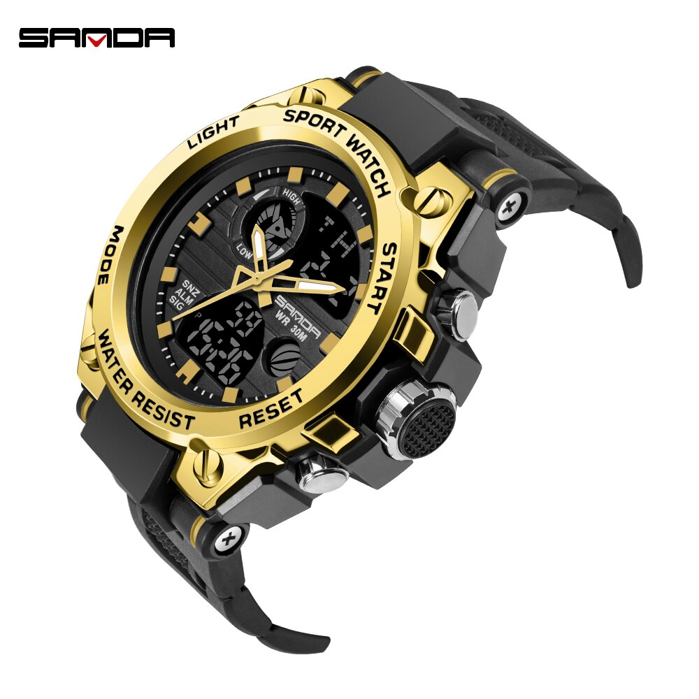 SANDA Professional Military Mens Sports Watches Digital LED Army Dive Watch Men Fashion Casual Electronics Wristwatches Relojes