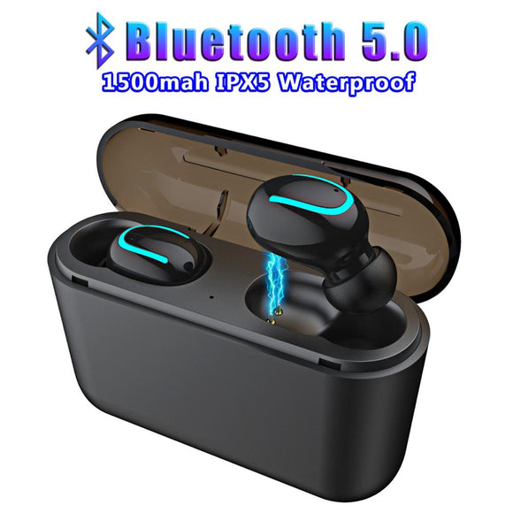 Bluetooth 5.0 Mini Wireless Earphones Earbuds HBQ Earphone Handsfree Sport Earbuds Gaming Headset with Charging box for Phone