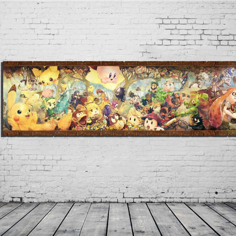 Modular Pictures Canvas Painting Super Smash Bros Classical Video Game Retro Style Mural Wall Art Poster HD Printed Home Decor