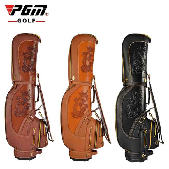 Pgm Pu Leather Dragon Golf Club Bag Men Waterproof Big Cart Bag Sports Training Golf Club Bag 3 Colors Available D0087