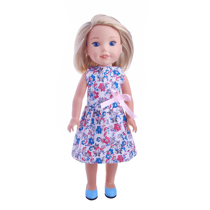 1 Pcs Blue and White Sling Dresses for Princess Dolls 13cm with Belt fg