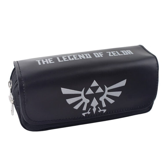 Legend of Zelda Pen Bag Purse Men Zelda Game Large Capacity Double Zipper Stationery Pencil Holder Leather Cosmetic Bags Cases