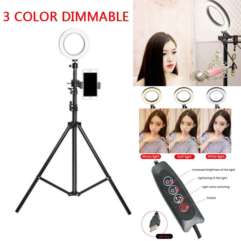 72 LED Selfie Ring Light USB 5500K Studio Camera Ring Light Makeup Phone Video For Photography Photo Fill Ring Light with Tripod