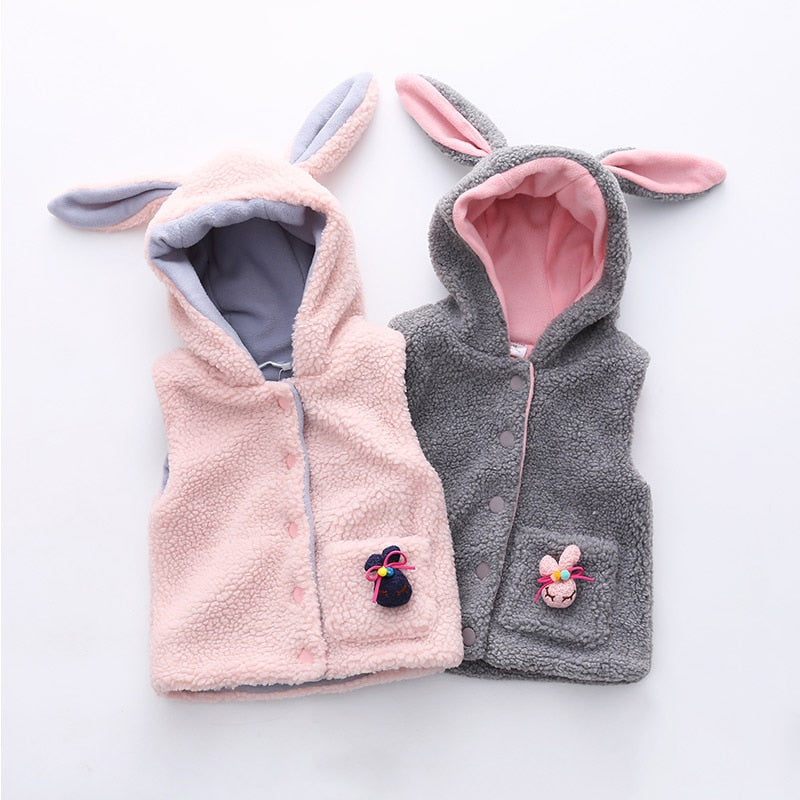 Girls Outwear&Coats 2018 Winter Warm New Fashion 2-6 7 8 9 10 Years Animal Ear Hat Corduroy Coat For Kids Baby Girl Hooded Vests