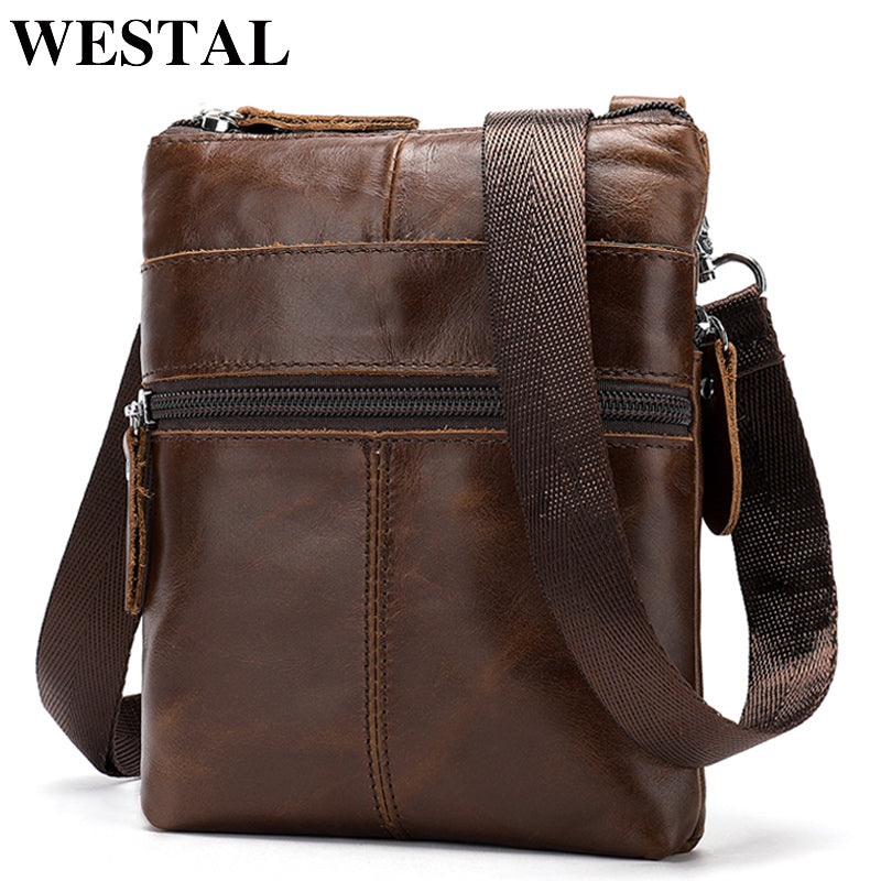 WESTAL Messenger Bag Men's Genuine Leather Small Pouch Bags for phone casual Crossbody Bags Men Bags Leather Messenger flap 2222