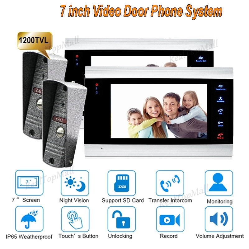 New 7 inch 1200TVL Dual Way Video Door Phone Doorbell  Intercom system With  IP65 HD Camera Door Bell System  2 monitor 2 camera