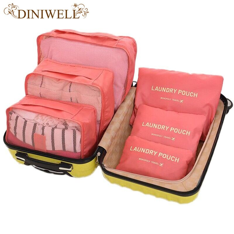 DINIWELL Brand 6 Pcs Packing Cube OrganiserTravel Bag Women Large Capacity Waterproof Storage Clothing Sorting Luggage Mesh Ba