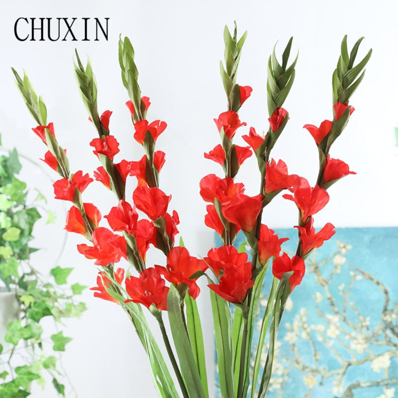 6 heads gladiolus orchid silk artificial flower  bonsai flower plants home wedding arrangement home decor DIY aerobic potted