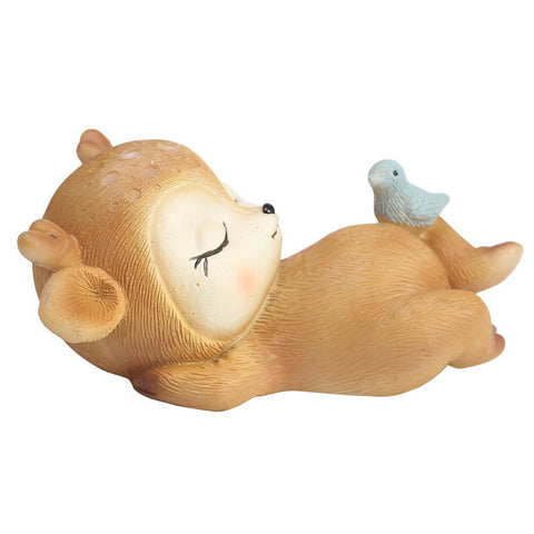 Decorative Ornament Sleeping Baby Deer Mini Figurine Resin Craft Home Garden Car