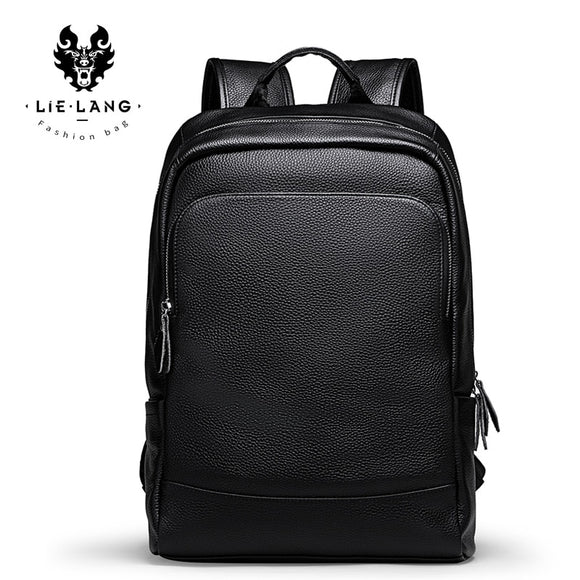 LIELANG Men's Backpack Simple High Quality Leather Backpack Male Leather Fashion Trend Youth Leisure Travel Computer Bag