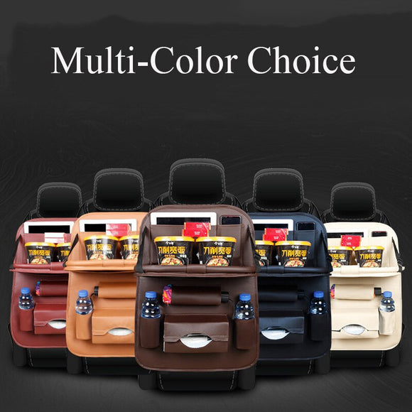 PU Leather Car Seat Back Organizer Auto Seat Hanging Cover Storage Bag Multi-Pocket Tray Travel Anti-Kick Protection Pad Kids
