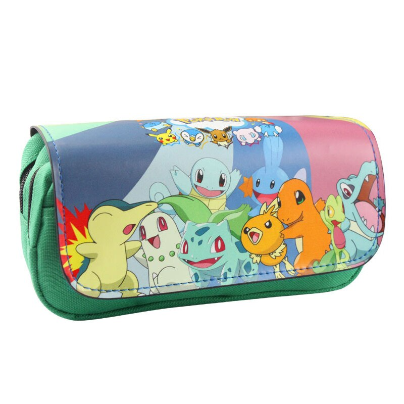New Arrival Pokemon Go Makeup Bag Cartoon Pocket Monster Pen Purse Pencil Case Pouch Double Zipper Leather Lovely Cosmetic Bags