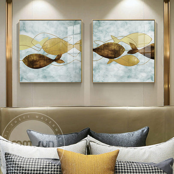 Abstract Yellow Brown Color Fish Canvas Painting Cute Poster n Print Unique Wall Art Pictures For Living Room Dining Room Decor