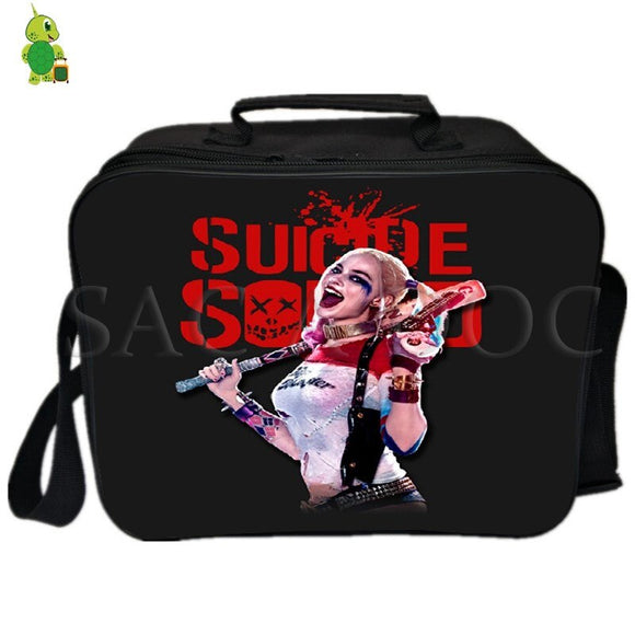 Suicide Squad Harley Quinn Joker Lunch Bag Thermal Insulation bag Women Men Camping Shoulder Bag Fresh Keeping Picnic Bag