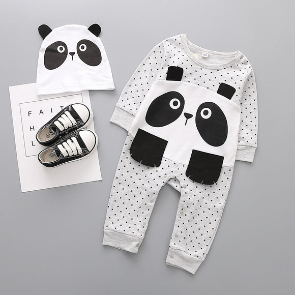 Spring Fashion Newborn Baby Ropmer Cartoon Long Sleeve Print Baby Boy Girl Clothes Cotton Sleepwear Baby set Rompers +hat