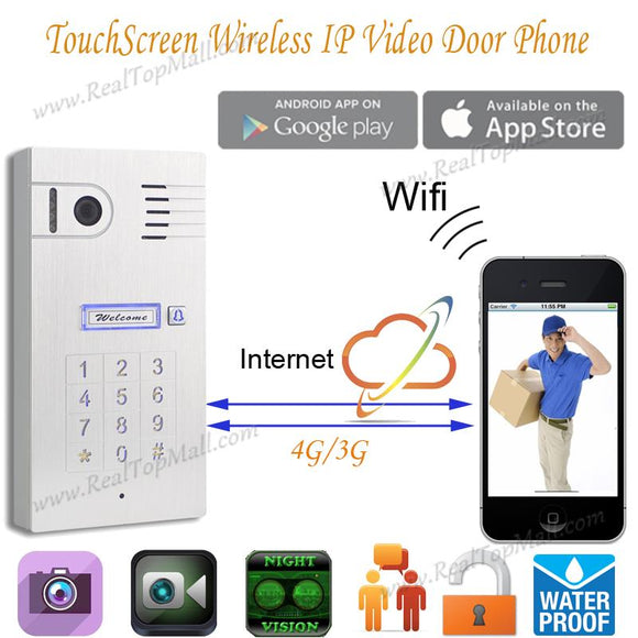 Touch IP wifi global video door phone WiFi intercom system two way intercom and remotely unlock door, wireless intercom system