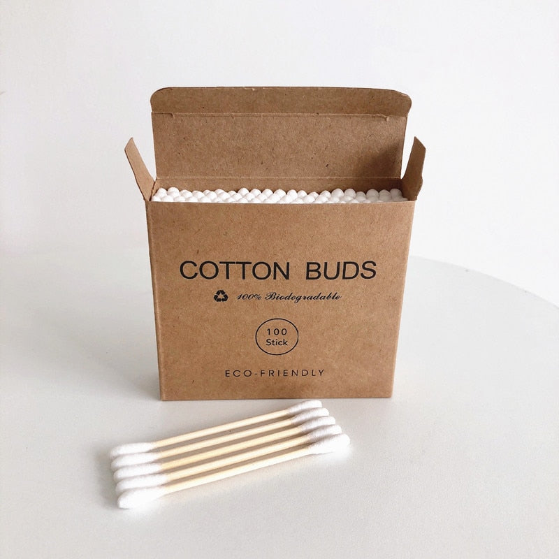 100pc/Pack Double Head Bamboo Cotton Swab Adults Makeup Cotton Buds Plastic-Free Wood Sticks Nose Ears Cleaning Health Tools