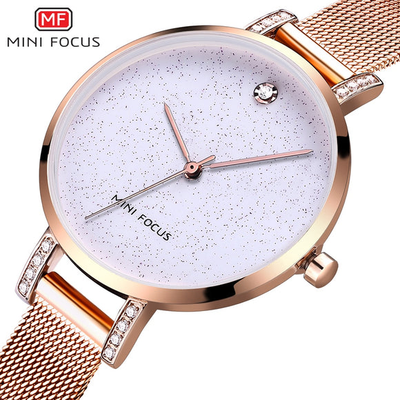 MINIFOCUS Simple Quartz Women Watches Waterproof Rose Gold Luxury Brand Dress Lady Watch for Woman Relogio Feminino Montre Femme
