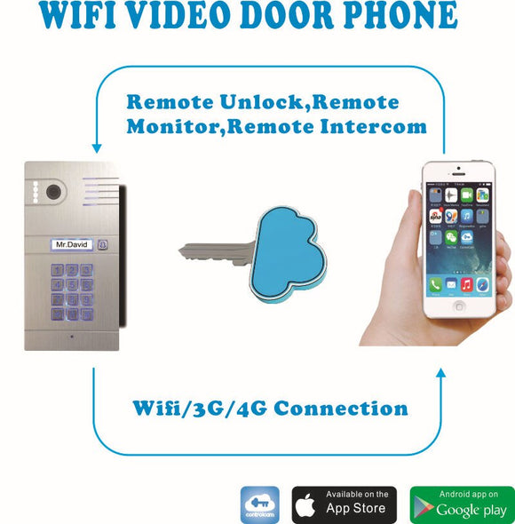 Hot Sale IP video intercom Wifi video intercom wireless video intercom unlock from smartphones