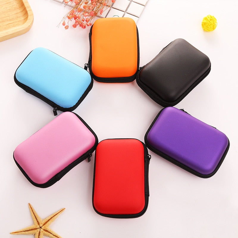 T travel mobile phone data cable Container Earphone Cable SD Card Storage Box Case Carrying Pouch Bag pack anti pressure