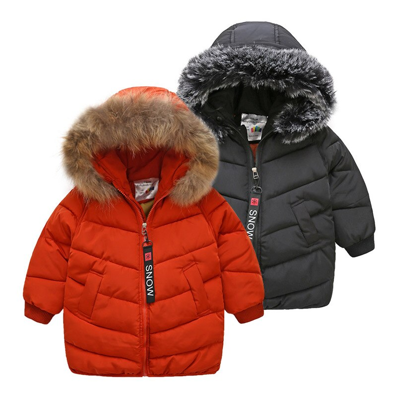 2020 Winter Warm 3 4 6 8 9 10 11 12 Years Thickening Faux Fur Hat Medium Long For Kids Baby Boys Down Hooded Winter Jacket Coat