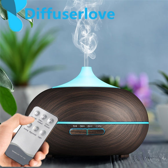 Diffuserlove 300ml Air Humidifier Wood Grain Ultrasonic Aroma Essential Oil Diffuser for Office Cool Mist  Bedroom Living Room