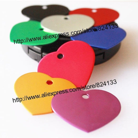 hot sale aluminum  heart shaped dog pet tags pet id name tags anodized id tags for cat dog,free shipping