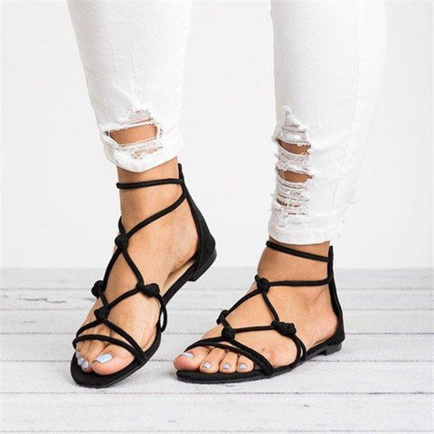 Fashion Women/'s Toe Ring Gladiator Sandals Ladies Casual Flats Shoes Size 5-11