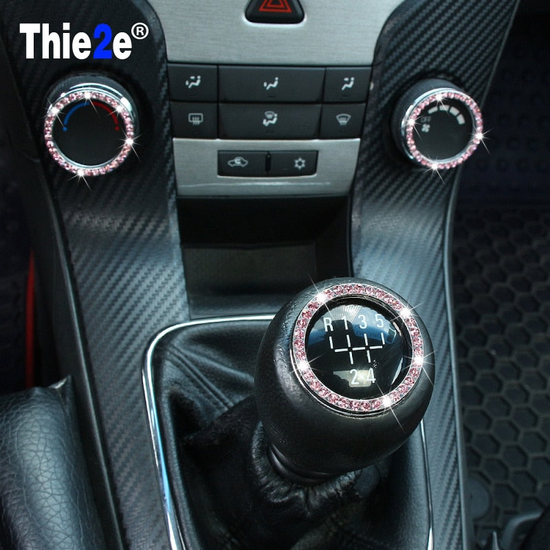 Car styling Crystal Car Air Conditioning control Switch ring trim /Gear Shift Knob Cover Trim For Chevrolet Cruze 2009-2013 1pcs
