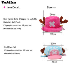 Rose Color One Piece Tony Chopper Hat Cap Japanese Anime Cartoon Cosplay Gift