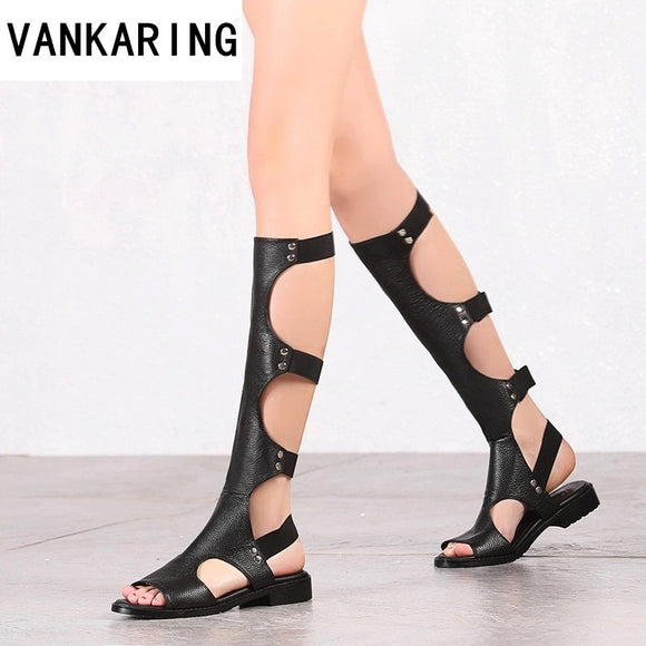 classic design fashion gladiator summer sandals women knee high boots ladies sexy cut-outs black boots leather dress shoes woman