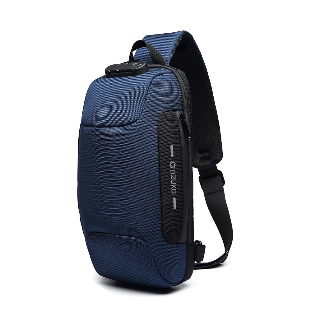 Men Outdoor Shoulder Bag Water-Resistant Oxford Cloth Chest Pack Fashion Burglarproof Chest Bag City Walking Backpack