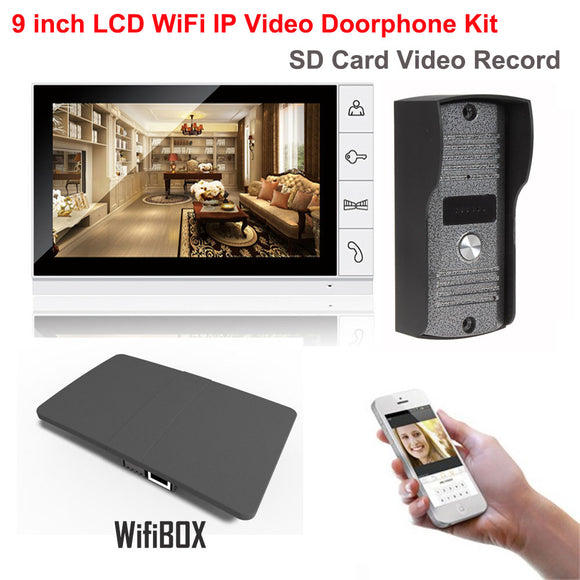 9 inch LCD Monitor 700TVL IR Camera Wireless WiFi IP Video Doorphone Intercom System Video Recording Support Android iPhone APP