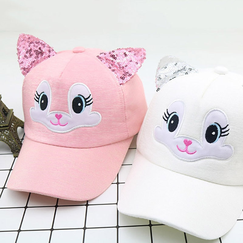 Summer New Cute Cartoon Cat Ear Baby Cap Adjustable Baseball Cap for Kids Children Boy Boy Girl Sun Hat Caps Girls Hat
