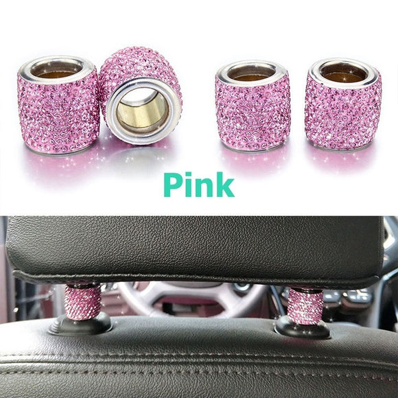 Universal 1Pcs Crystal Car Seat Headrest Collar Decor Seat Rod Diamond Ring Car Interior Accessories For Women Rhinestone
