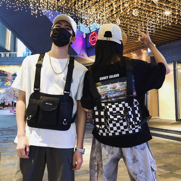 Unisex Tactical Chest Bag Fanny Pack Streetwear Function Chest Rig Bags Adjustable Plaid Pattern Fashion Man Hip Hop Bag