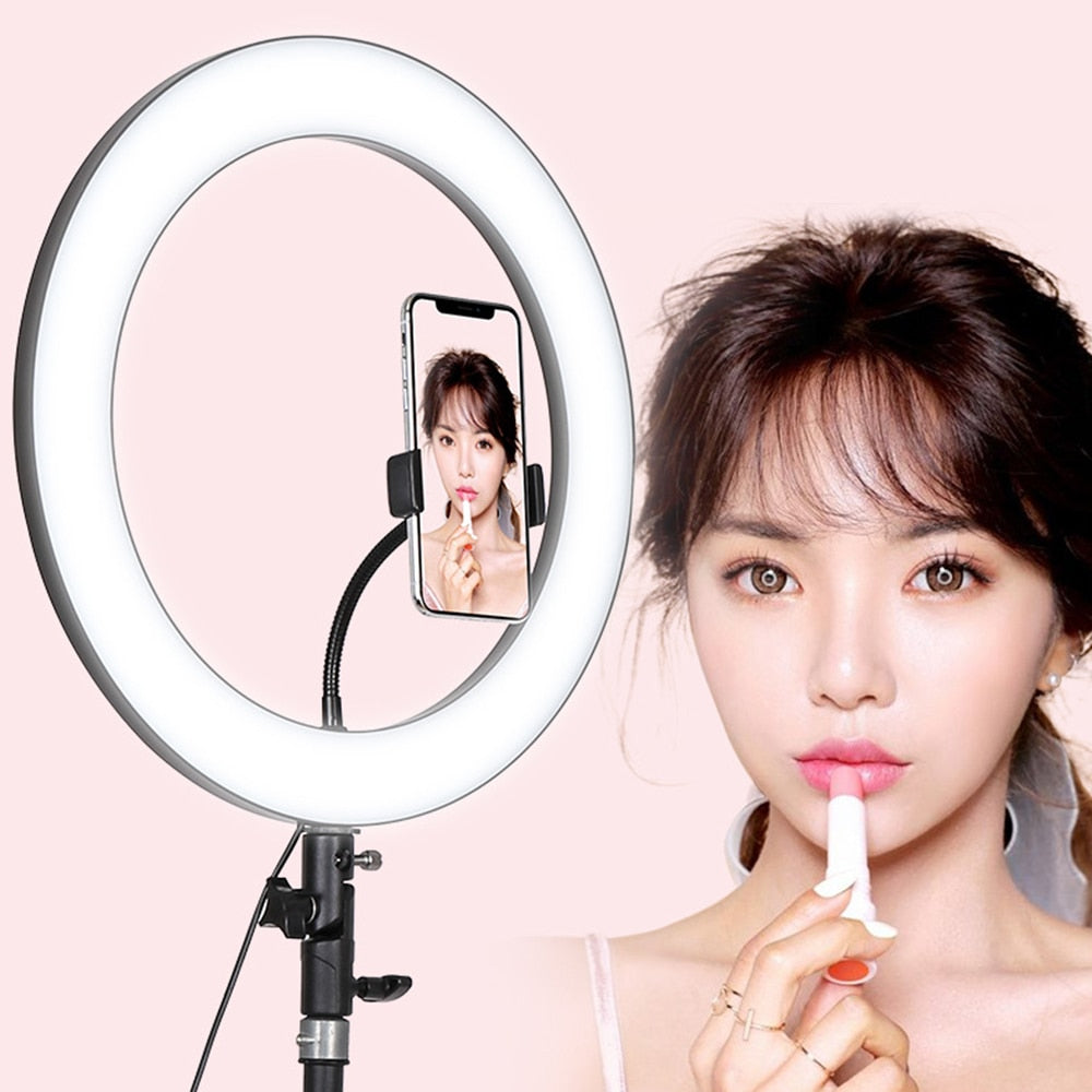 Big Diameter 36cm 288 LED Selfie Ring Light 18W 5600K Studio Photography Fill Ring Light with Tripod for iphone7 8 XS Makeup