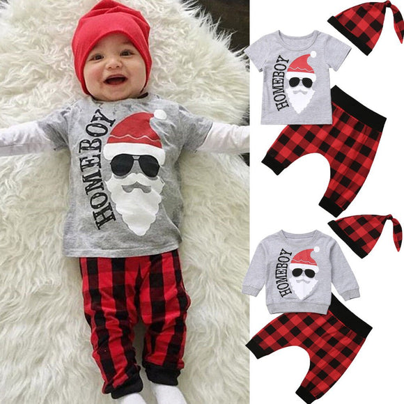 Pudcoco Newborn Baby Boys Clothes 2018 Christmas 3 Piece Set For 0-18 Monthes Boys T Shirt/Hoodies + Long Plaid Pants +Plaid Hat