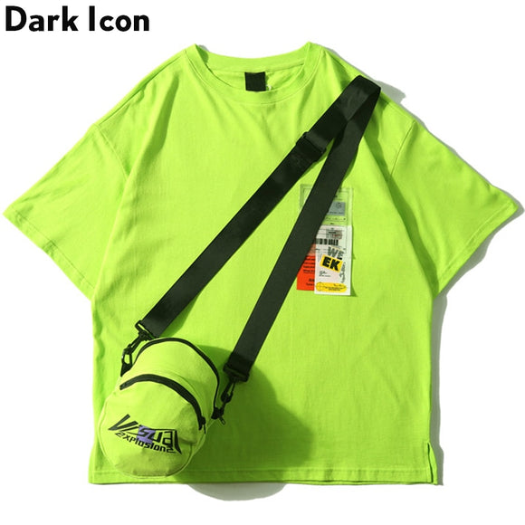 Dark Icon Side Split Fluorescent Green T-shirt with Messenger Bag Hiphop Tshirt Men Cotton Tee Shirts Streetwear Clothing