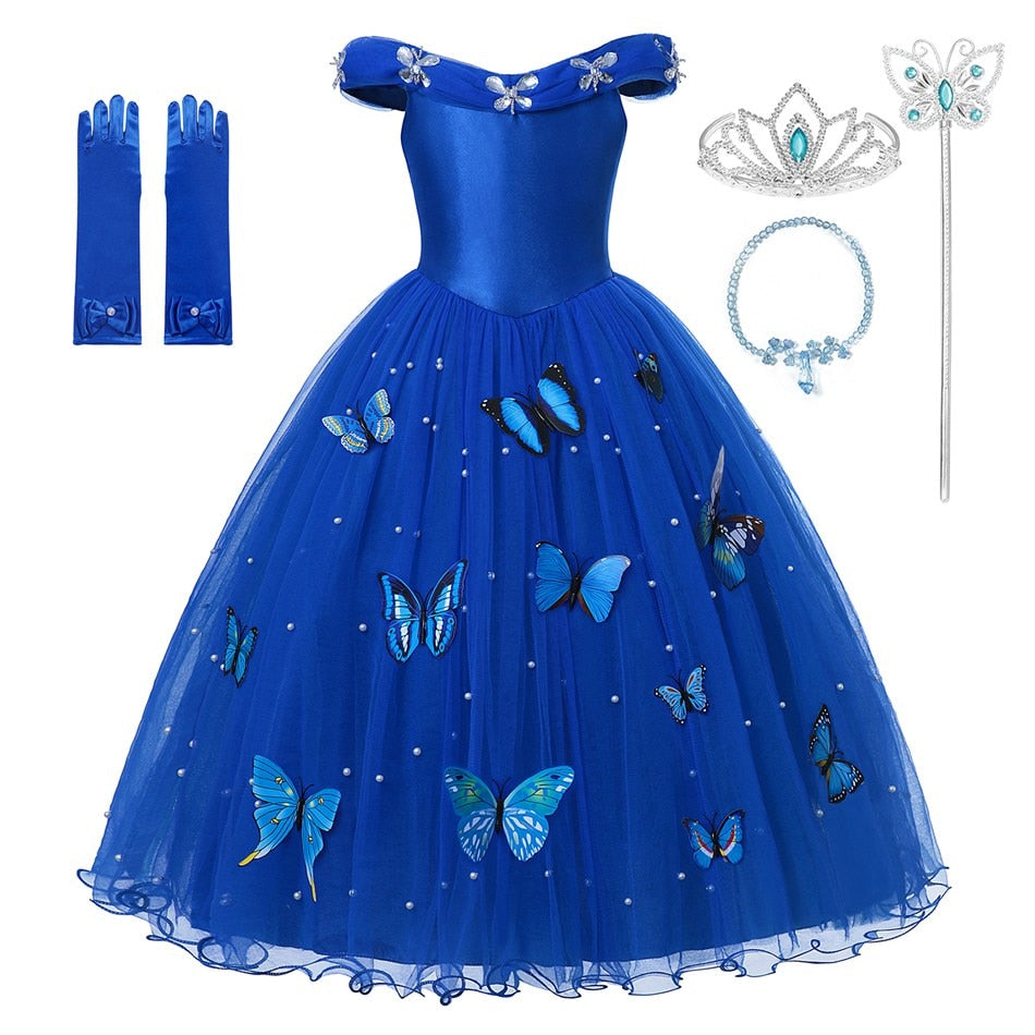 MUABABY Princess Cinderella Dress up Clothes Girl Off Shoulder Pageant Ball Gown Kids Deluxe Fluffy Bead Halloween Party Costume