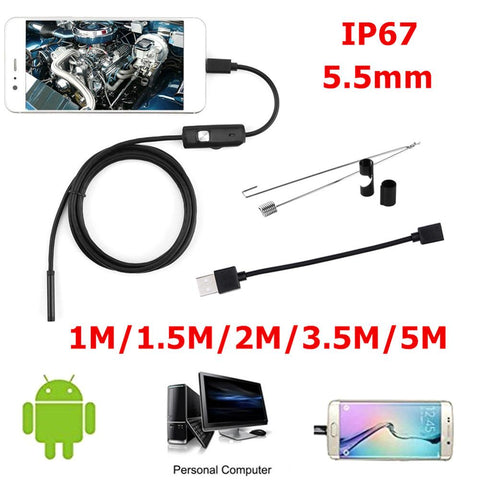 5M 2M Android Endoscope 7mm 6 LED USB Waterproof Borescope Inspection camera