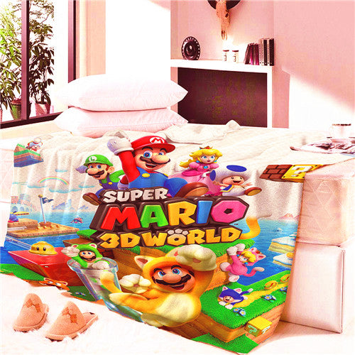 Game Super Mario World School Blanket Mat Tapestry Soft Wall Bedspread Beach Towel Mat Blanket Table Beach Towel Cosplay