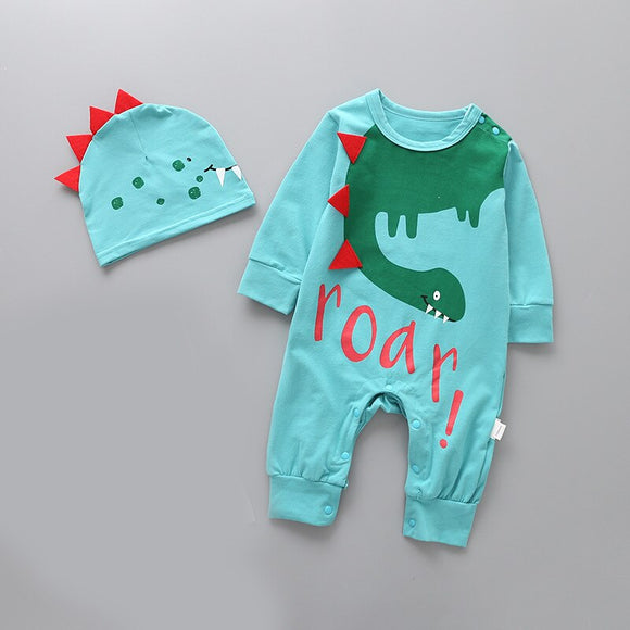 2018 Spring Baby Clothes Newborn Baby boy girl Rompers Long Sleeve Baby Jumpsuit Baby Girls Boys Clothing + hat set