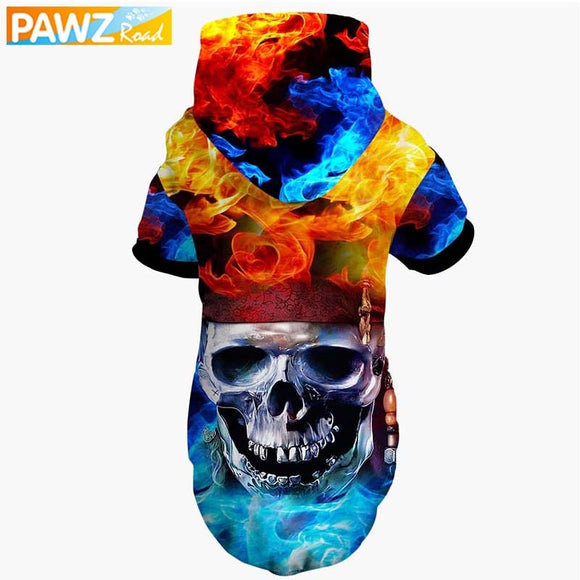 Pet Clothes Warm Soft 3D Printed Cool Fashion Pullovers Pet Hoodie With Leash Hole For Dog Cat Party Cosplay Costume Sweater