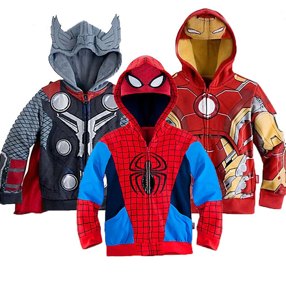 2019 Boys Hoodies Sweatshirts Avengers Marvel Superhero Iron Man Thor Hulk Captain America Spiderman Sweatshirt Boys Kids Coats