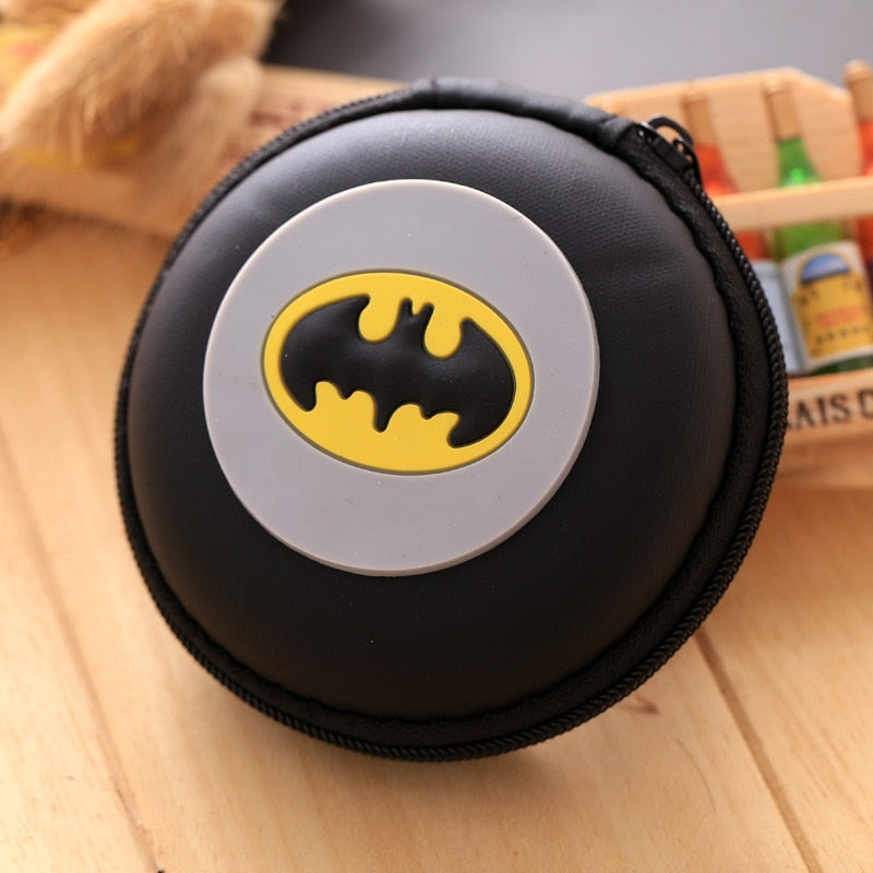 Cute Cartoon Batman Silicone Coin Purse Anime Avengers Captain America Superman Ironman Spiderman Earphone Holder Gifts Wallets