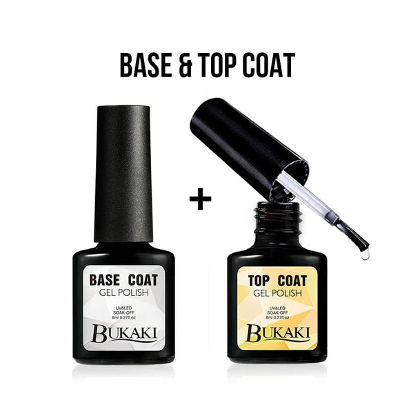 BUKAKI Top Base Coat Gel Polish Set Soak-off Base + Top Coat Gel Nail Varnish Long Lasting LED UV Nail Gel Lacquer