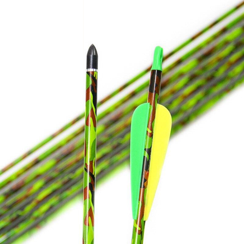 6/12/18pcs Pure Carbon 31.5 inches Spine 300  Archery Arrow for Recurve Compound Bow Tip Hunting Shooting Replaceable Arrowhead